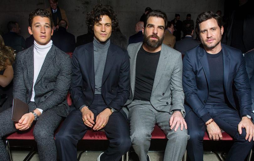 Men inStyle: уличный стиль наНеделе мужской моды вНью-Йорке. Майлз Теллер, Майлз Макмиллан, Закари Куинто иЭдгар Рамирес напоказе BOSS