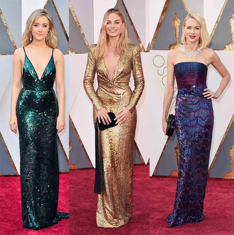 Абсолютная классика «Оскара» — девушки в блестящих платьях. Сирша Ронан в Calvin Klein, Марго Робби в Tom Ford и Наоми Уоттс в Armani Prive