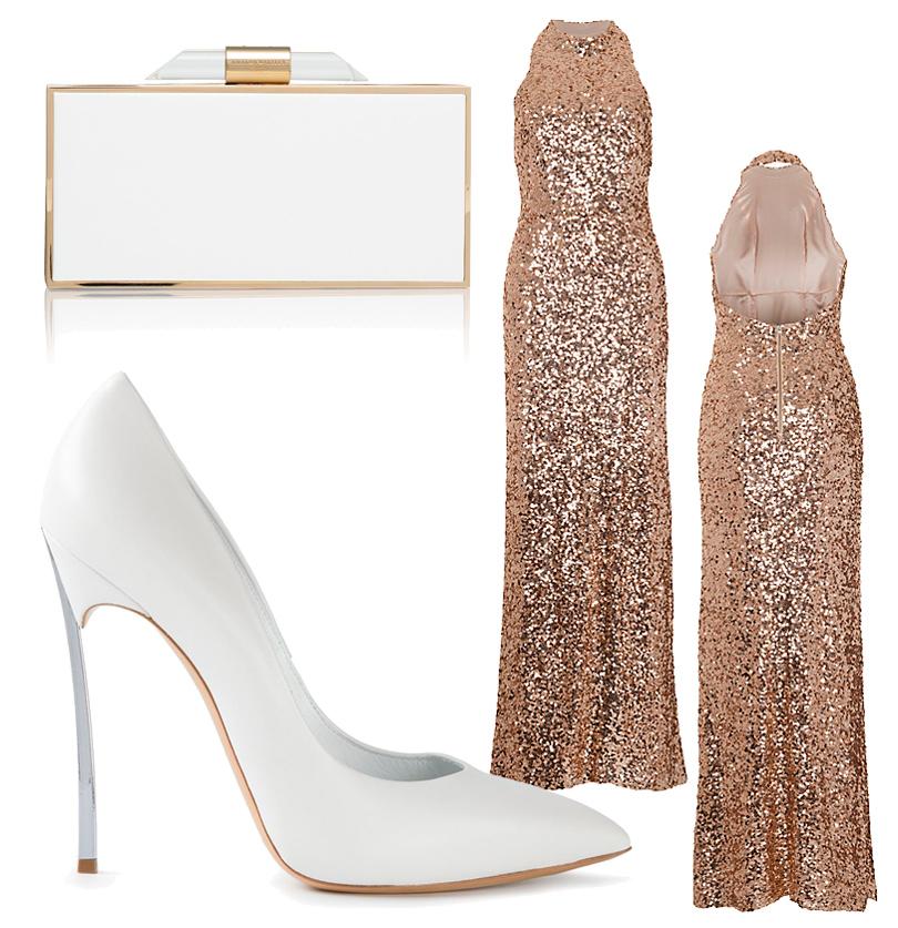 Платье-футляр French Connection, миниатюрные жесткий клатч Amanda Wakeley, туфли нашпильке Casadei