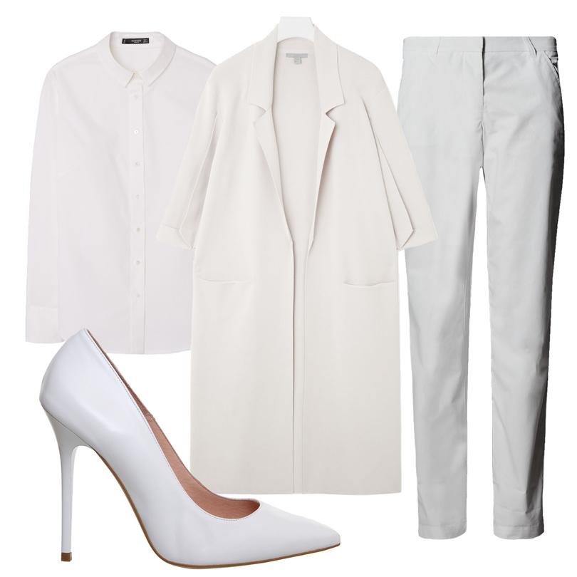 Рубашка Mango, брюки Marks &Spencer, лодочки Office, пальто COS
