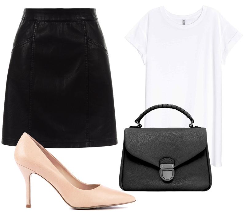 Кожаная мини-юбка New Look, футболка H&M, лодочки изискусственной замши Nine West, сумка Mango