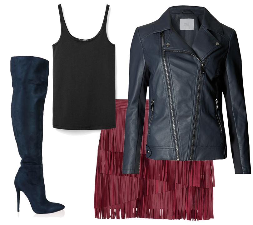 Куртка-косуха изсиней искусственной кожи Marks &Spencer, мини-юбка изискусственной кожи H&M, топ Mango, ботфорты изискусственной замши Public Desire