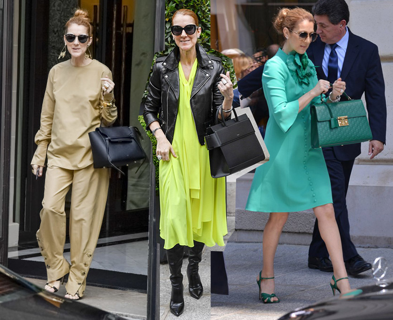 Селин Дион  в Céline, в платье Balenciaga и жакете Saint Laurent,  в Gucci