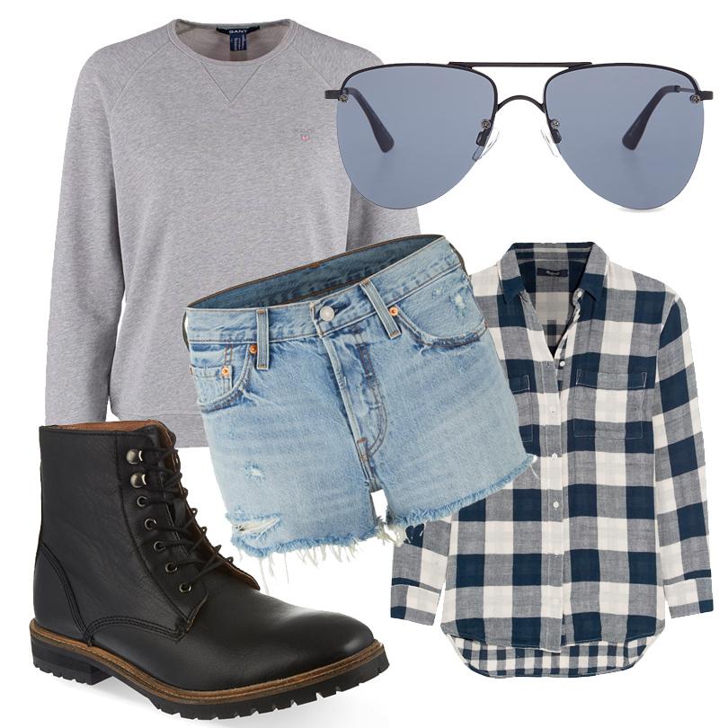 Короткие шорты Levi's, свитшот Gant, фланелевая клетчатая рубашка Madewell, ботинки KGKurt Geiger, солнцезащитные очки LeSpecs