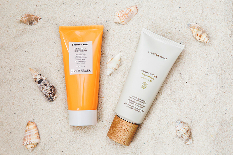 Гоммаж Comfort Zone Sacred Nature Bio-Certified Gommage + лосьон Comfort Zone Sun Soul Aftersun Body Cream