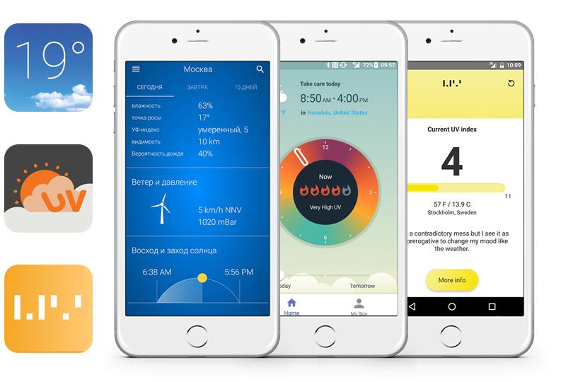 Скачайте приложение, которое автоматически выводит значение УФ-индекса наэкран смартфона при загрузке