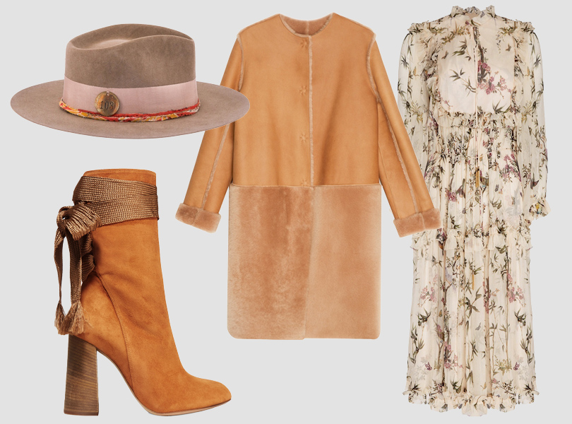 Фетровая шляпа, Nick Fouquet; платье, Zimmermann; дубленка, Luda Nikishina; сапоги, Chloé