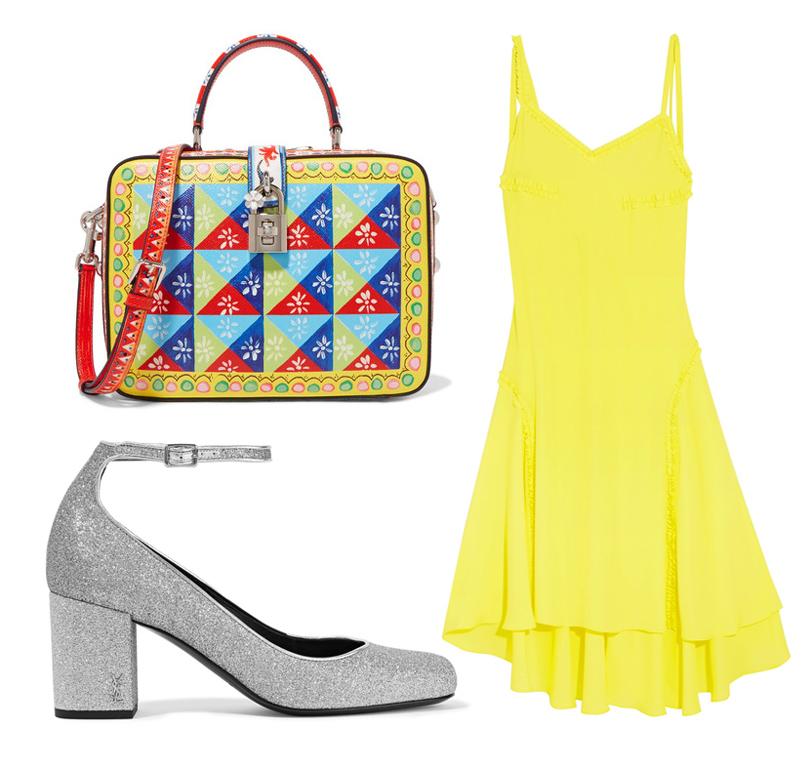 Style Notes: 5 образов из весенне-летних коллекций, вдохновленных фильмом «Ла-Ла Лэнд». Платье Cedric Chalier, серебристые туфли Saint Laurent, сумка Dolce &Gabbana