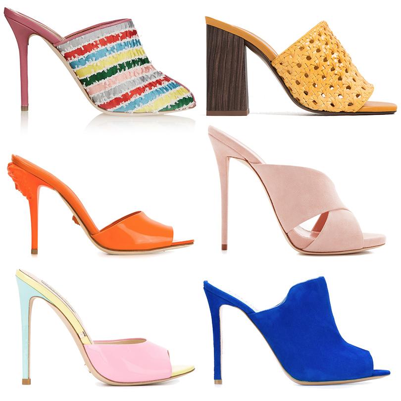 Двухцветные мюли Balenciaga, плетеные мюли Zara, мюли изглянцевой кожи Versace, замшевые мюли Guiseppe Zanotti, трехцветные мюли Gianni Renzi, замшевые мюли Pollini