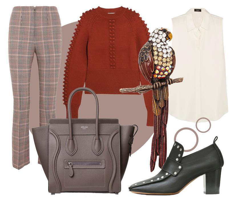 Туфли исумка Céline, брюки Sonia Rykiel, блузка Theory, cвитер Chloé, брошь Herald Percy