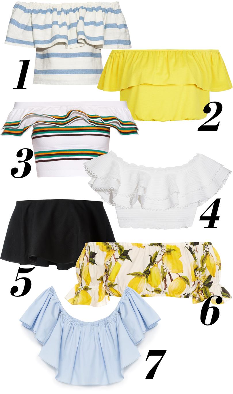 Топ вгоризонтальную полоску Mara Hoffman, ярко-желтый топ New Look, полосатый топ сдвойной оборкой MSGM, белый топ Alexander McQueen, черный топ Rosetta Getty, топ спринтом ввиде лимонов Dolce &Gabbana, светло-голубой топ Zara