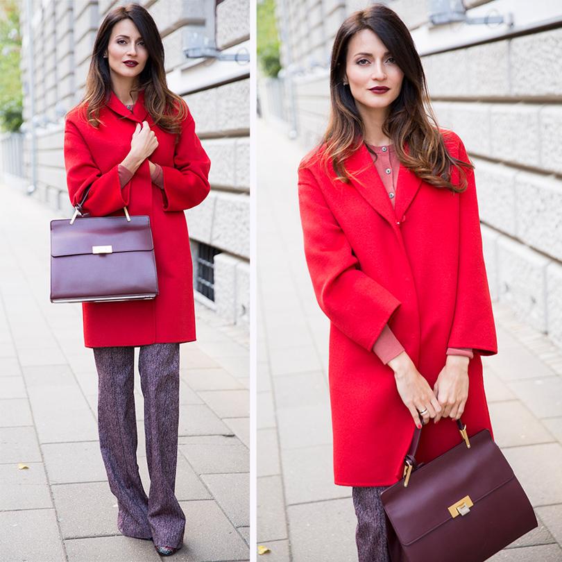 НаМарине: пальто Prada, трикотажная кофта Uniqlo, брюки изшерстяной ткани Pinko, кожаная сумка Balenciaga, кожаные туфли Jimmy Choo