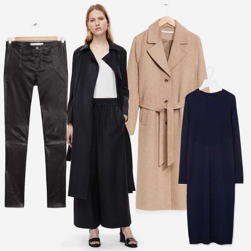 Luxe for less: От «массы» к «классу». Массовые марки в премиум-сегменте. Шерстяное пальто (€175), платье (€115) и жакет (€135) COS. Пальто из альпаки (€275), платье из вязанного кружева (€275), пальто из искуственного меха (€445) и кожаные брюки (€395), все — &Other Stories.