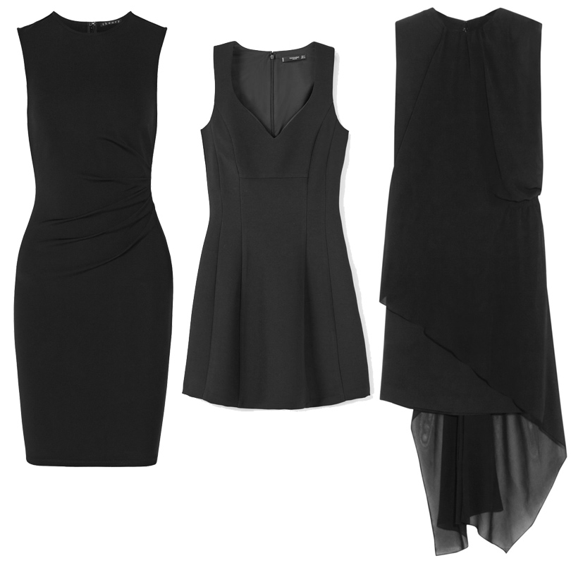 Trend Alert: модный минимализм. Новый подход к созданию базового гардероба. Платье-футляр Theory, приталенное мини-платье Mango, ассиметричное шифоновое платье Maison Margiela