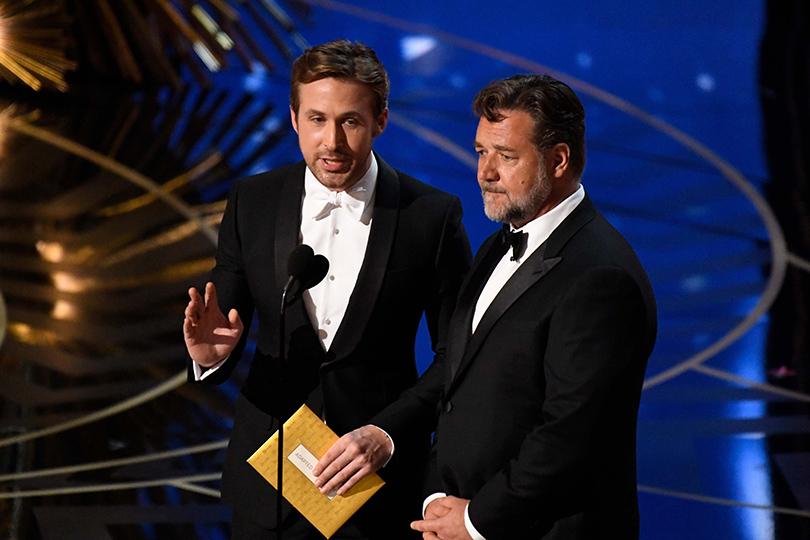 Oscars Special 2016: Райан Гослинг иРассел Кроу, ковсеобщей радости, немного пошутили неорасизме, апро Москву