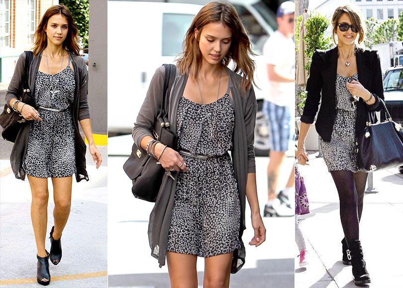 Тренд на outfit recycling: носить платья по два раза считают уместным Джессика Альба