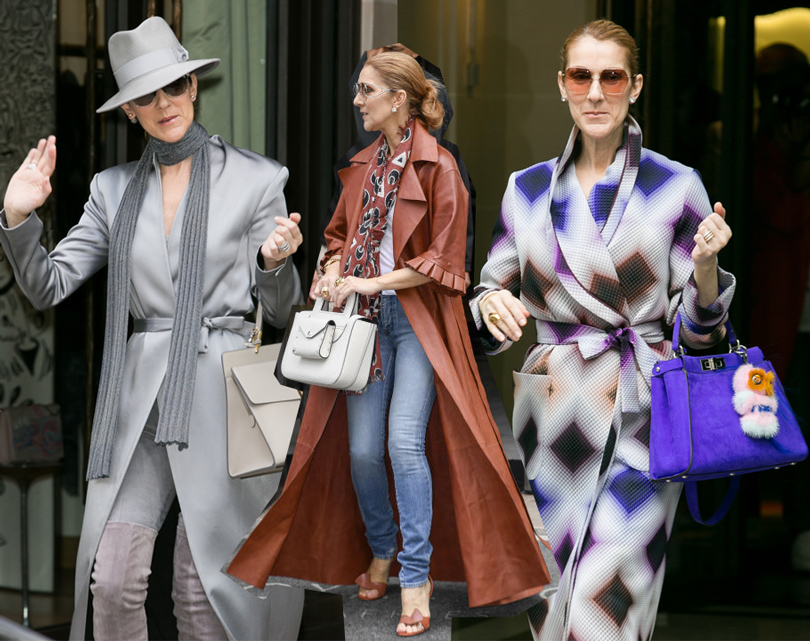 Селин Дион  в пальто Balmain, в пальто кожаном пальто и аксессуарах Céline, в Fendi