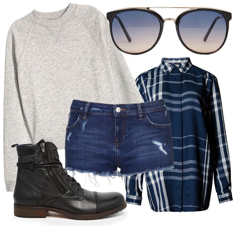 Короткие шорты Topshop, свитшот H&M, объемная рубашка Marks &Spencer, ботинки ALDO, солнцезащитные очки Jeepers Peepers
