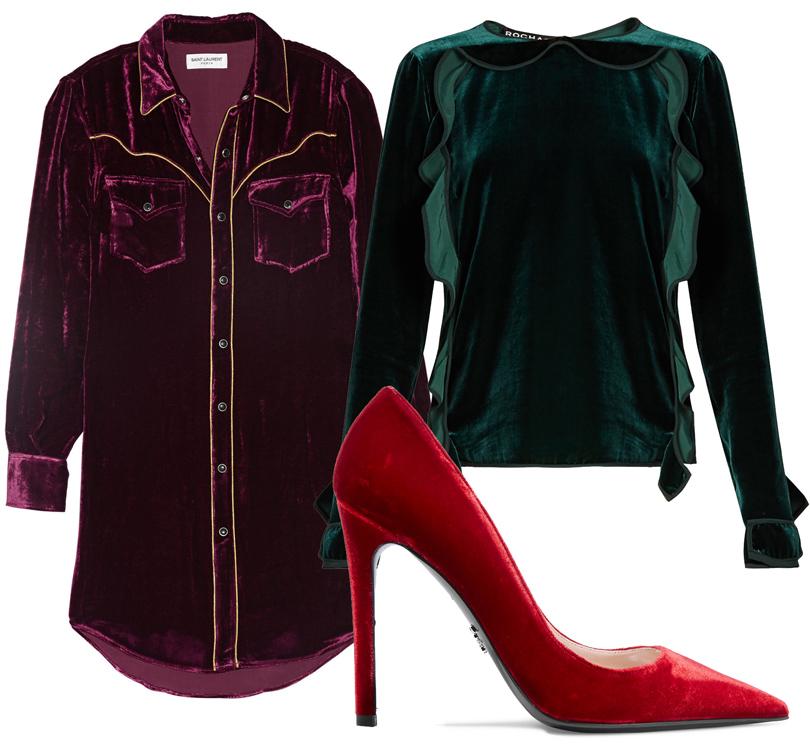 Удлиненная вельветовая рубашка Saint Laurent, классические лодочки изкрасного бархата Prada, бархатная блузка Rochas