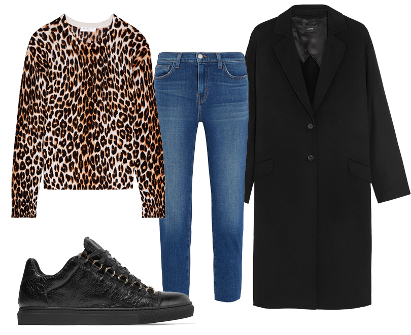 Топ Equipment, прямые укороченные джинсы L'Agence, кроссовки Balenciaga, пальто Joseph