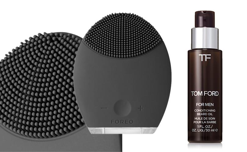 Масло для ухода за бородой Tom Ford Conditioning Beard Oil;  силиконовая пульсирующая щетка для лица  Forea Luna Cleansing System