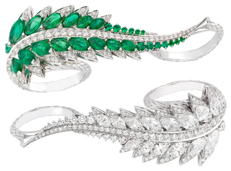 Коллекция Magnipheasant, кольцо Plumage натри пальца сбриллиантами или изумрудами.