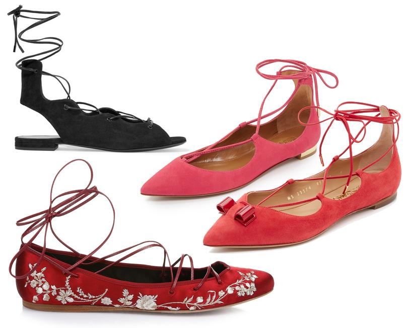 Закрытые замшевые сандалии Saint Laurent, замшевые балетки сзаостренным носом ивысокой шнуровкой Aquazzura, красные замшевые балетки Salvatore Ferragamo, cатиновые балетки cцветочной вышивкой Etro