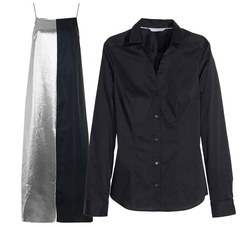 Черная рубашка H&M идвухцветное платье Topshop