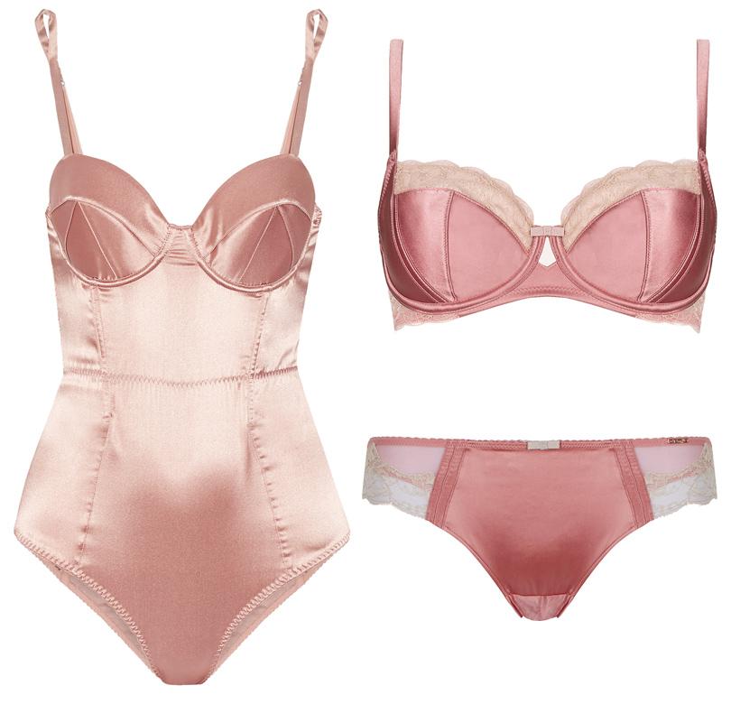 Главные бельевые тренды этой осени. Пастельно-розовое боди Fleur duMal, комплект белья изрозового шелка икружева Marks &Spencer Rosie for Autograph