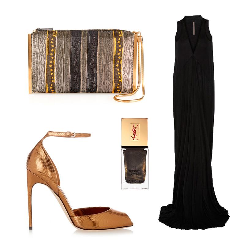 Платье Rick Owens, клатч, расшитый бусинами и стеклярусом Lanvin, босоножки из металлизированной кожи Brian Atwood, лак для ногтей с мелким шиммером Yves Saint Laurent в оттенке 28 Bronze Aztec