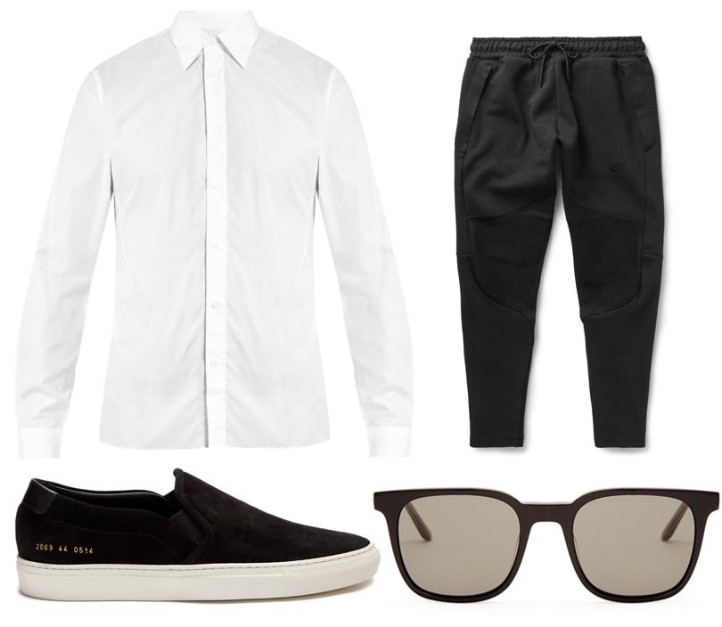 Классическая рубашка, Acne Studios; спортивные брюки, Nike; слипоны, Common Projects; очки, Bottega Veneta