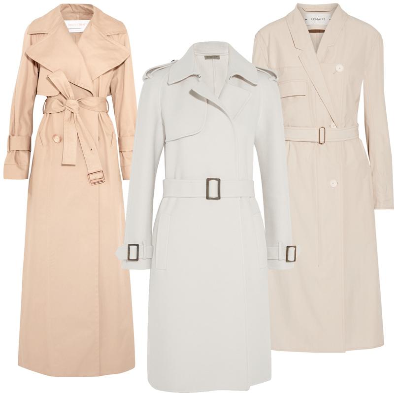 Trend Alert: модный минимализм. Новый подход к созданию базового гардероба. Пальто Lemaire, удлиненный тренч See byChloé, классические тренч Bottega Veneta