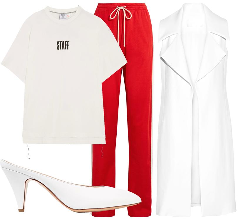 Office Style: адаптируем самые «горячие» подиумные тренды весны для корпоративного дресс-кода. Футболка Vetements, брюки MM6 Maison Margiela, жилет Cushnie etOchs, мюли Mansur Gavriel