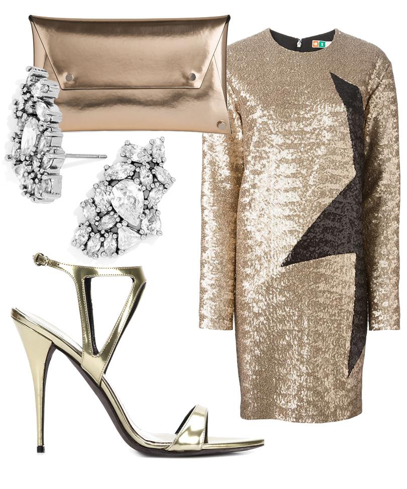 Контрастное мини-платье изMSGM, босоножки изметаллизированной кожи Aquazzura, золотистый клатч-конверт сзаклепками Whistles, серьги BaubleBar