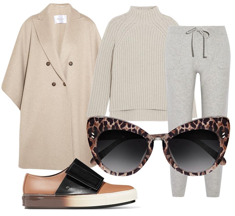 Кашемировый свитер свысоким горлом Theory, кашемировые брюки вспортивном стиле Allude, пальто Max Mara, слипоны Marni, солнцезащитные очки Stella McCartney