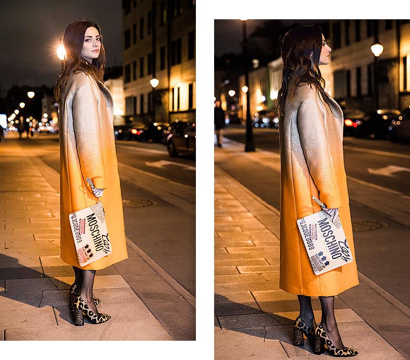 Style Notes сМариной Изиловой: зимний стритстайл, или Несколько слов опальто, Versace; клатч, Moschino; туфли, Alberto Guardiani