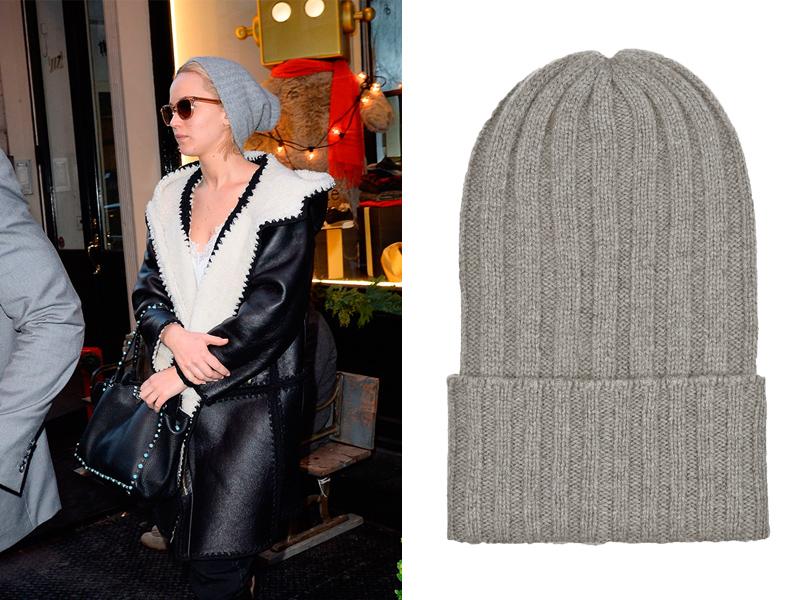 Составляем базовый зимний гардероб на примере звездных образов: простая шапка. Дженнифер Лоуренс; шапка The Elder Statesman