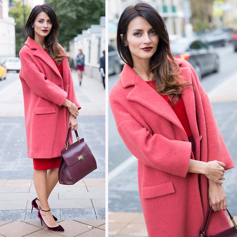 НаМарине: шерстяное пальто Max&Co, трикотажное платье Trussardi, кожаная сумка Balenciaga, туфли изкожи ибархата Jimmy Choo