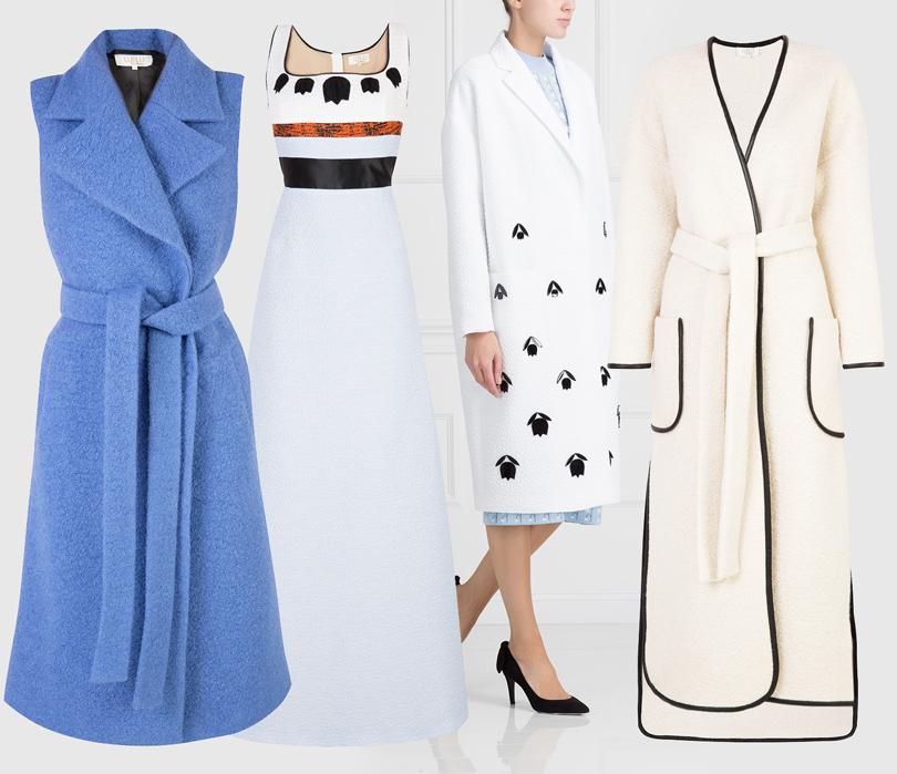 Luxe for less: От «массы» к «классу». Массовые марки в премиум-сегменте. Шерстяное жакет (₽28 800), пальто из хлопка (₽32 200), платье в пол (₽43 700), длинное шерстяное пальто (₽31 100). Все Lublu Kira Plastinina.
