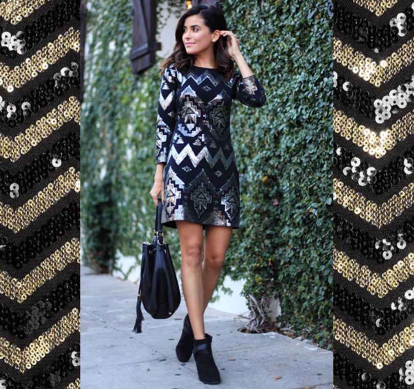 4 способа носить платья с пайетками