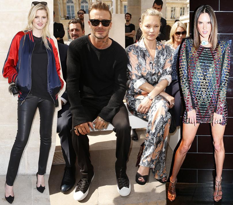 Street Style: лучшие образы на неделях мужской моды. Лара Стоун, Дэвид Бекхэм иКейт Мосс напоказе Louis Vuitton, Алессандра Амбросио