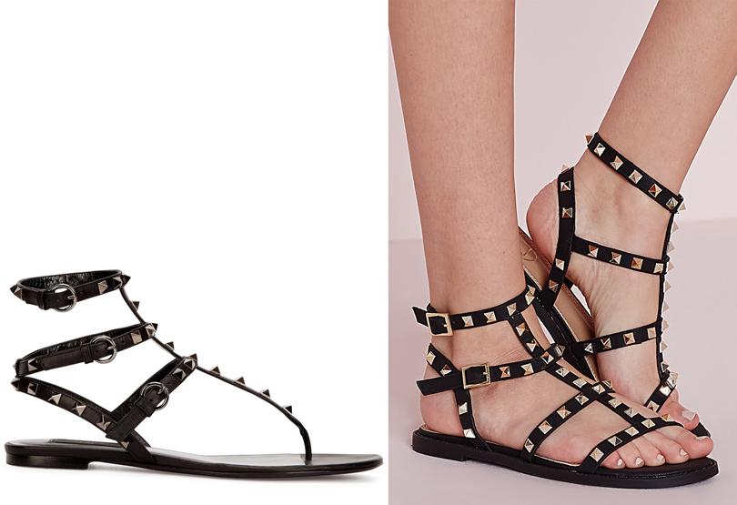 Мода и бизнес: найти десять отличий. Как масс-маркет «вдохновляется» люксовым сегментом. Босоножки сзаклепками Valentino VSбосоножки сзаклепками Missguided