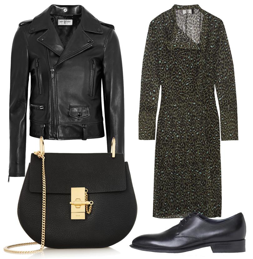 Платье Topshop Unique, кожаная куртка Saint Laurent, сумка Chloé, броги Céline
