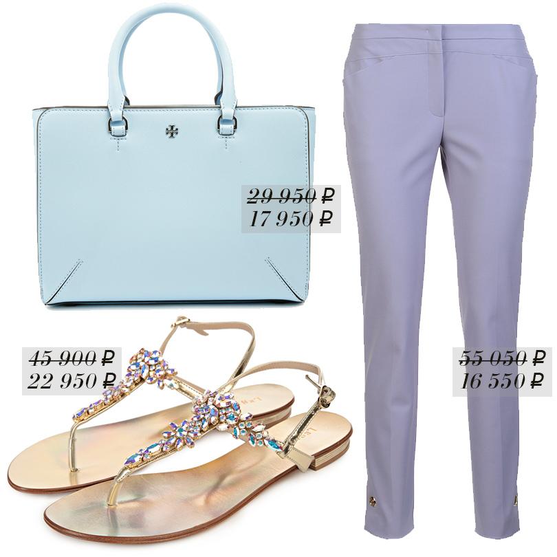 Сумка изплотной текстурированной кожи Tory Burch, классические укороченные брюки Escada, сандалии LeSilla изметаллизированной кожи cаппликацией изкристаллов Swarovski слилово-голубым отливом