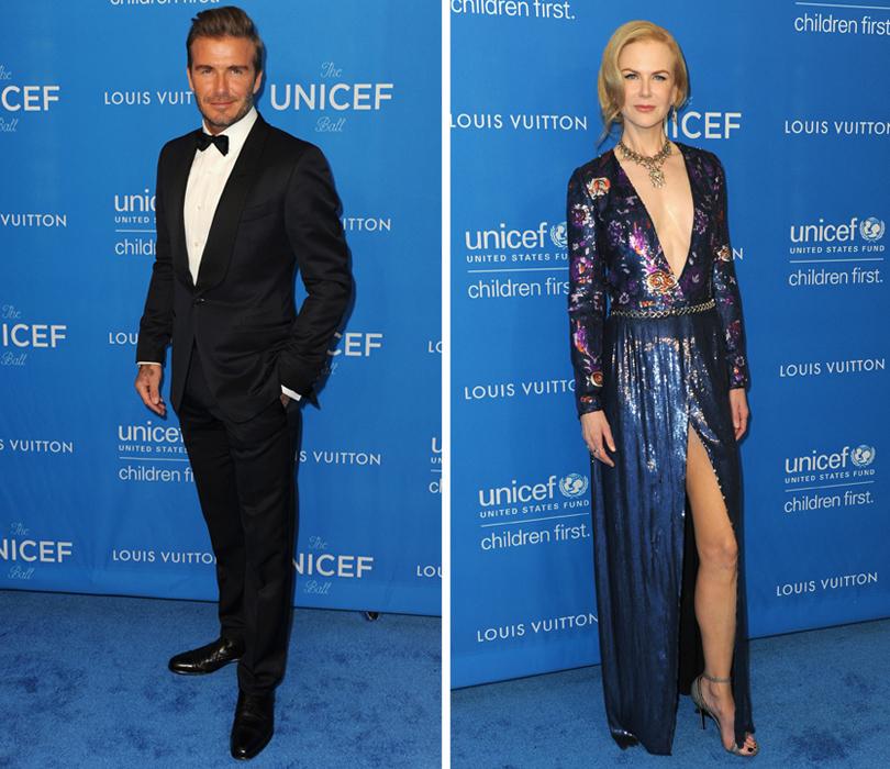 Ежегодный благотворительный бал UNICEF. Дэвид Бекхэм, Николь Кидман