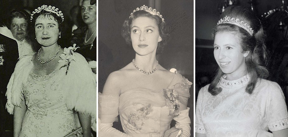 Тиара Halo Cartier была создана для матери Елизаветы, Леди Елизаветы Боуз-Лайон (слева), азатем подарена будущей королеве на18-летие. Ее, всвое время, носили Принцесса Маргарет (вцентре) иПринцесса Анна (справа).