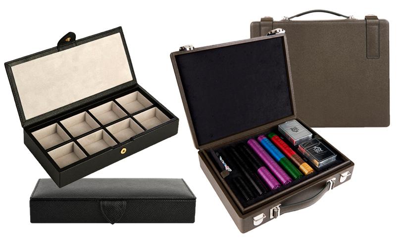 Органайзер для запонок;  набор для покера Bourdon Poker Set в кожаном чемоданчике Duhnill