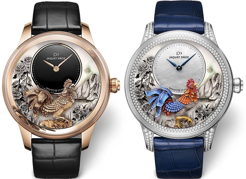 Швейцарский дом Jaquet Droz решил не ограничиваться единой стилистикой и посвятил знаку восточного Зодиака несколько вариантов дизайна. Часы Petite Heure Minute Year of the Rooster