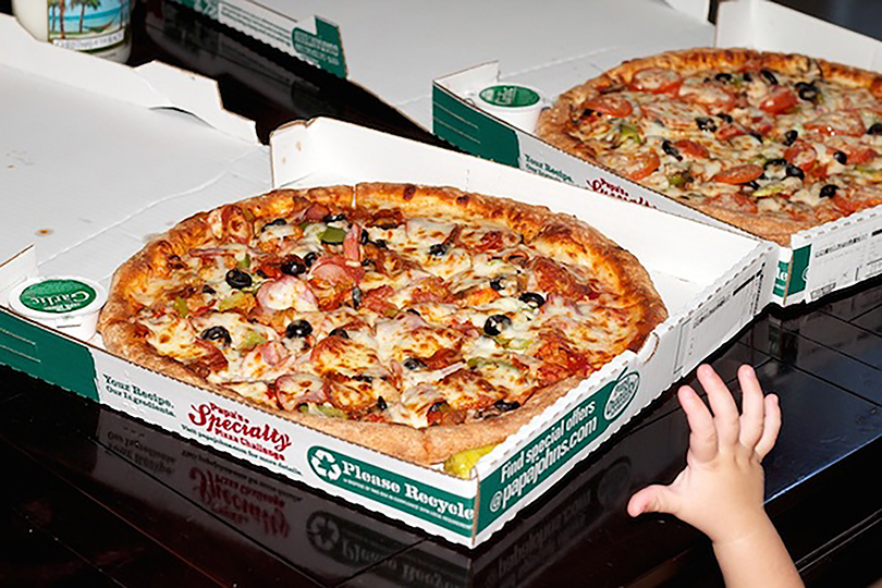 These two Pizzas were purchased in 2010 for 10000 Bitcoin, which would now be worth 25 million US dollars