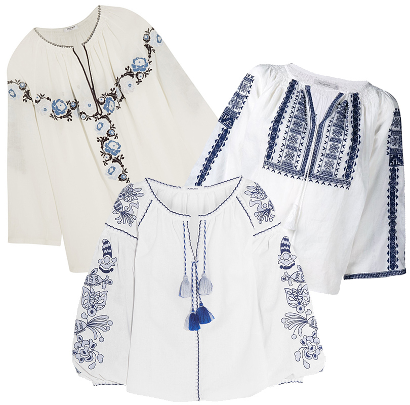 Блузка свышивкой втрадиционном русском стиле Vilshenko, хлопковая рубашка сдекоративной вышивкой Mes Demoiselles, «вышиванка» March11